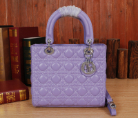 2014 Dior handbag original leather silver chain 6322 lavender purple
