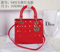 2014 Dior patent leather silver chain 5432 red