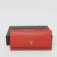 Prada calf Leather Wallet 1M1335 red