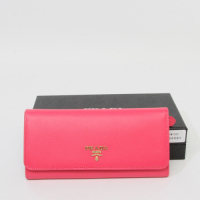 Prada Leather Wallet 1188 black  rose