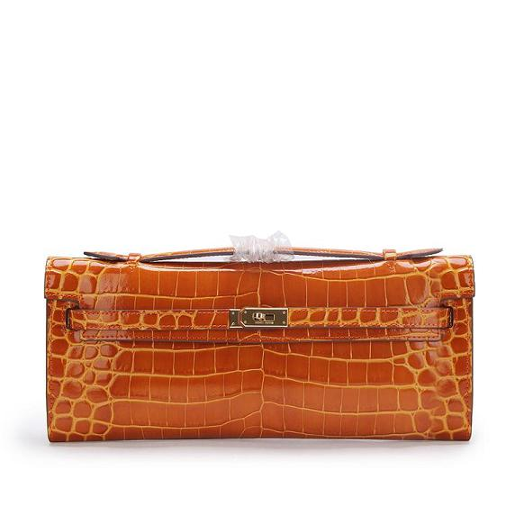 2015 hermes kelly longue clutch original leather 1002 Light brown