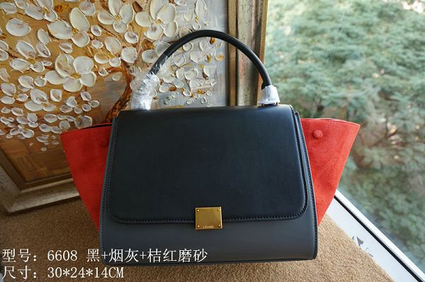 2015 Celine top quality plain weave with nubuck leather 6608 black&dark gray&red