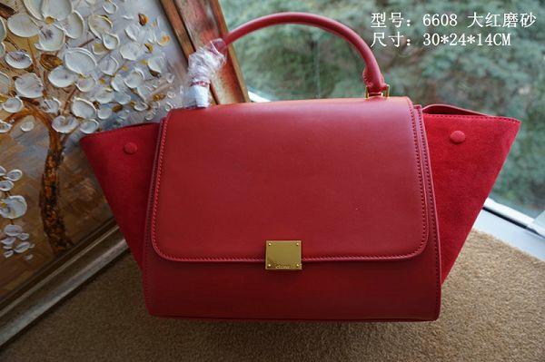 2015 Celine top quality plain weave with nubuck leather 6608 red