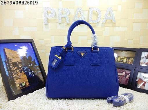 2015 Prada new model litchi grain 2579 brilliant blue