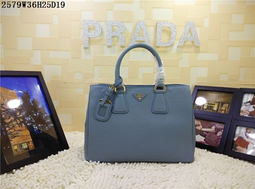 2015 Prada new model litchi grain 2579 light blue