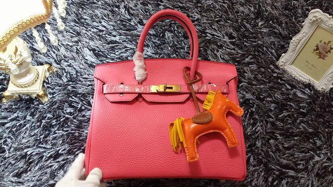 Hermes Birkin 30CM tote bags litchi leather H30 pink