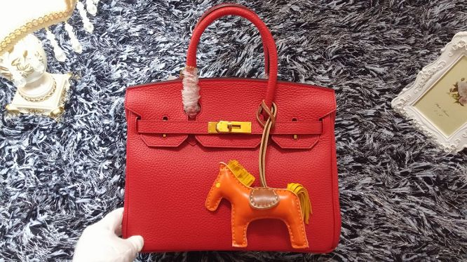 Hermes Birkin 30CM tote bags litchi leather H30 red