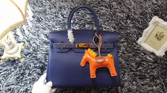 Hermes Birkin 30CM tote bags litchi leather H30 royal blue