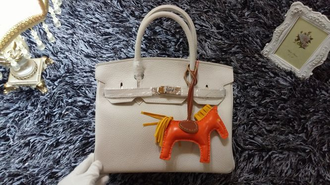 Hermes Birkin 30CM tote bags litchi leather H30 white