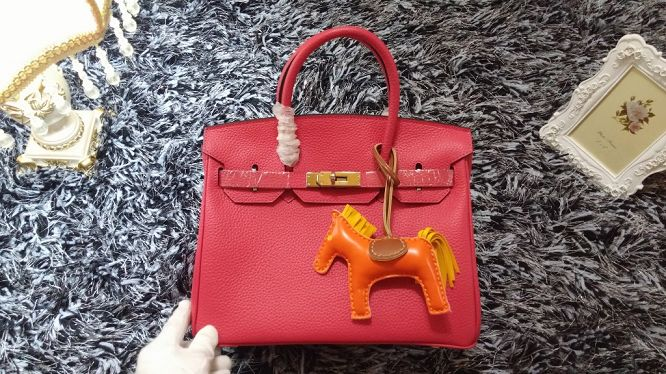 Hermes Birkin 30CM tote bags litchi leather H30 rose