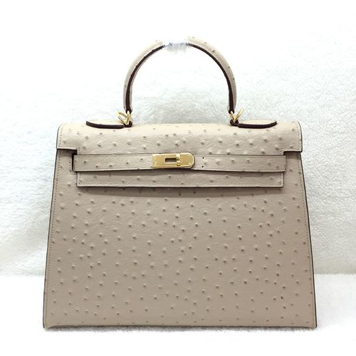 Hermes kelly 32cm ostrich leather tote bag H32 apricot