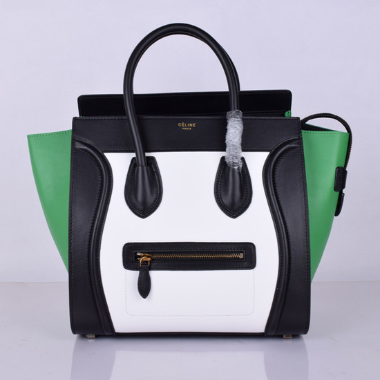 Celine Luggage Tote Bag Original Leather 8802-2 Black&White&Green