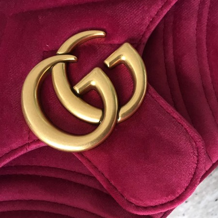 Gucci Velvet GG Shoulder Bag 446744 rose