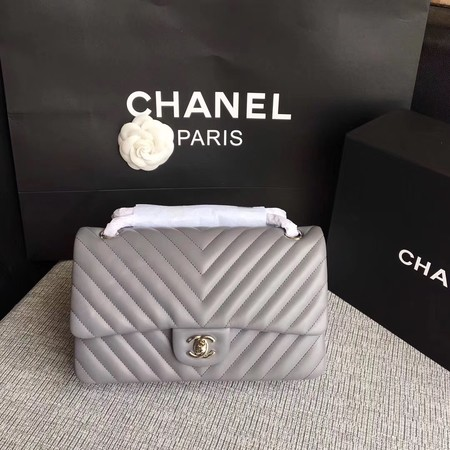 Chanel Flap Original Lambskin Leather Shoulder Bag CF 1112V gray silver chain
