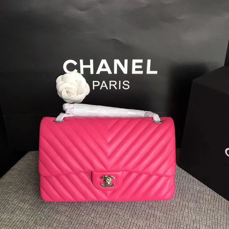 Chanel Flap Original Lambskin Leather Shoulder Bag CF 1112V rose silver chain