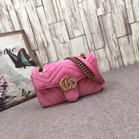 Gucci Velvet GG Shoulder Bag 446744 pink
