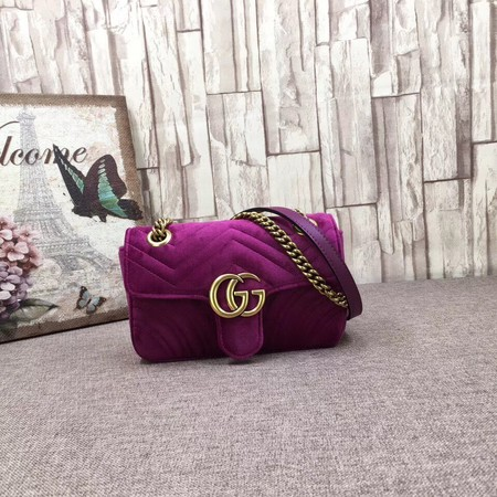 Gucci GG NOW Velvet Shoulder Bag 446744 purple