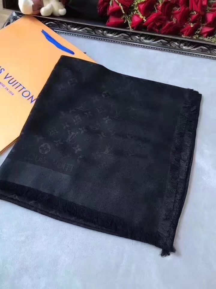 louis vuitton Cashmere scarf LV9219 black