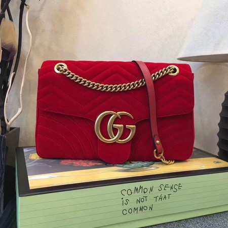 Gucci marmont Chevron shoulder bag 443496 red