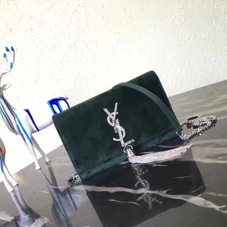 Yves Saint Laurent Monogramme Velvet Shoulder Bag 8011 green