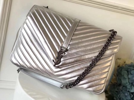 YSL Flap Bag Calfskin Leather 392738 silver