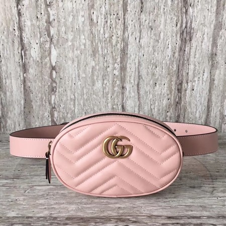 Gucci Marmont matelasse leather belt bag 476434 pink