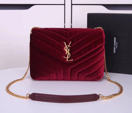Yves Saint Laurent hot style shoulder bag Velvet 487218 wine