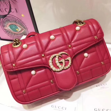 Gucci GG Marmont matelasse original leather small shoulder bag B443497 red