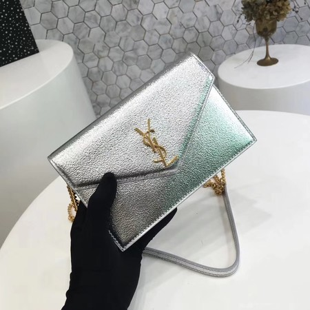 ysl small kate satchel original Calf leather 2822 silver Gold chain