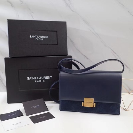 Yves saint Laurent Classic Monogramme Flap Bag Calf leather 482044 dark blue