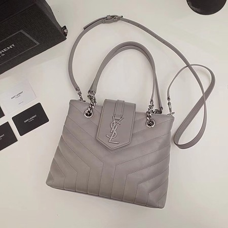Yves saint Laurent Original loulou Calf leather Shoulder Bag 502717 light gray