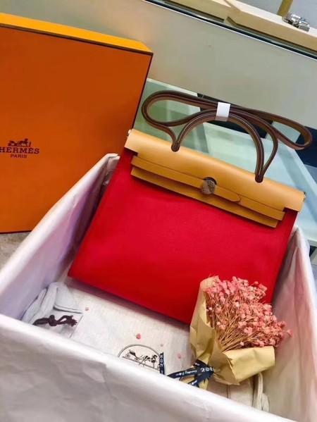 Hermes original canvas&calfskin leather herbag H45987 Red with apricot