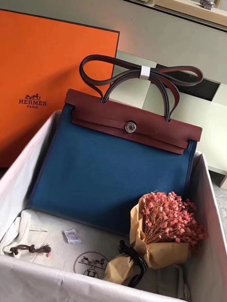Hermes original canvas&calfskin leather herbag H45987 blue with wine