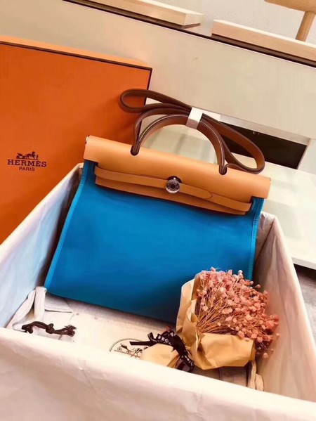 Hermes original canvas&calfskin leather herbag H45987 blue with apricot