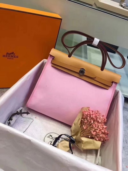 Hermes original canvas&calfskin leather herbag H45987 pink with apricot