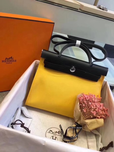 Hermes original canvas&calfskin leather herbag H45987 yellow with black