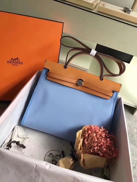 Hermes original canvas&calfskin leather herbag H45987 Light blue with apricot