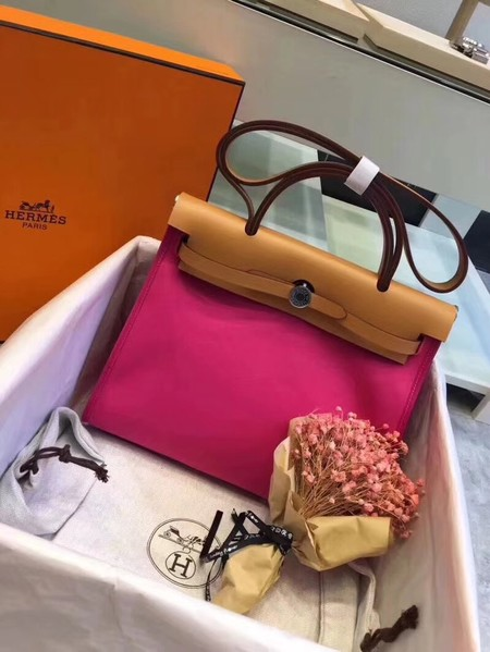 Hermes original canvas&calfskin leather herbag H45987 rose with apricot