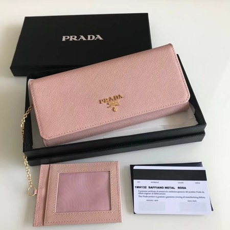 prada original Cattle leather Wallet 1MH132 pink