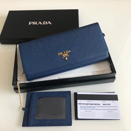 Prada original Cattle leather Wallet 1MH132 blue
