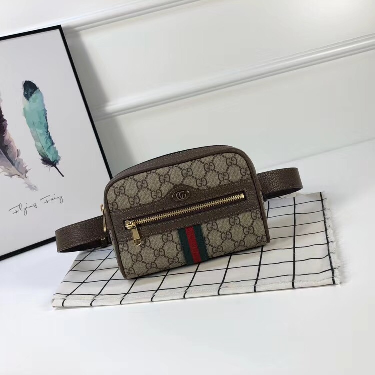 Gucci mini GG Supreme and grained leather belt bag 517075 brown