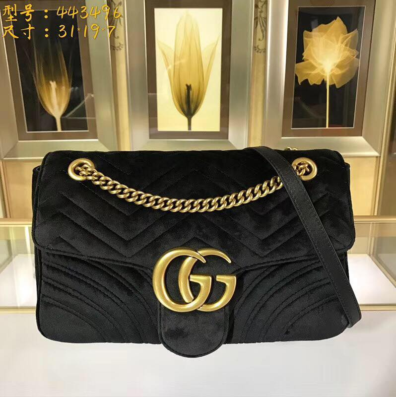 Gucci GG Marmont Medium Velvet Shoulder Bag 443496 black