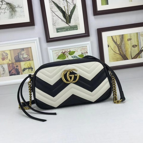 Gucci GG Marmont small matelasse shoulder bag 447632 Black&white