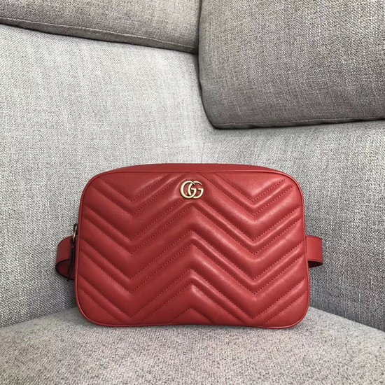 Gucci GG Marmont matelasse belt bag 523380 red