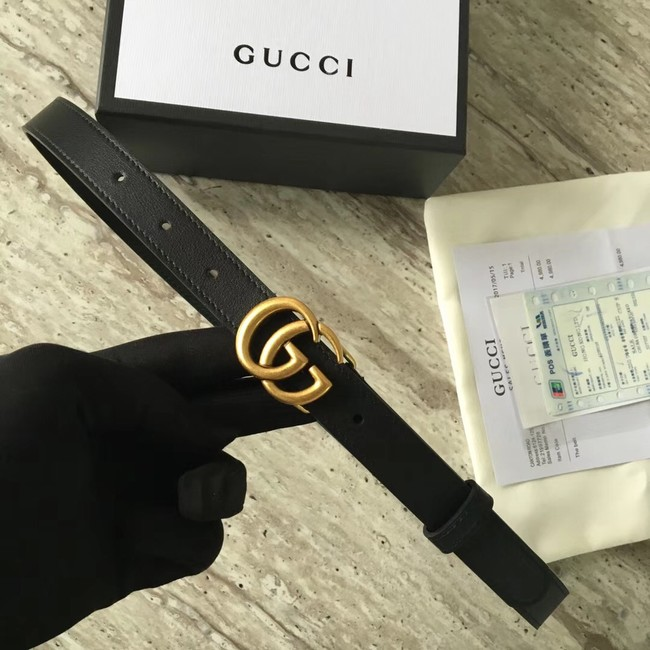 Gucci Leather belt with Double G buckle 409417 black