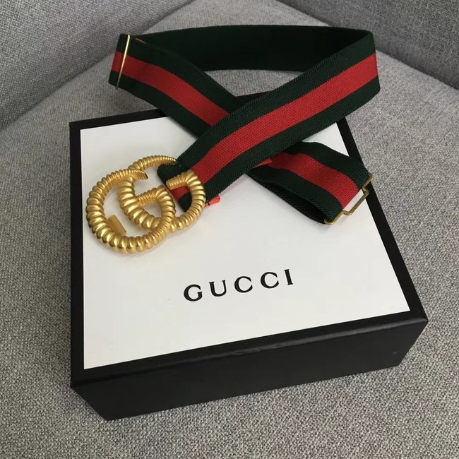 Gucci Web elastic belt with torchon Double G buckle 524101 red&green