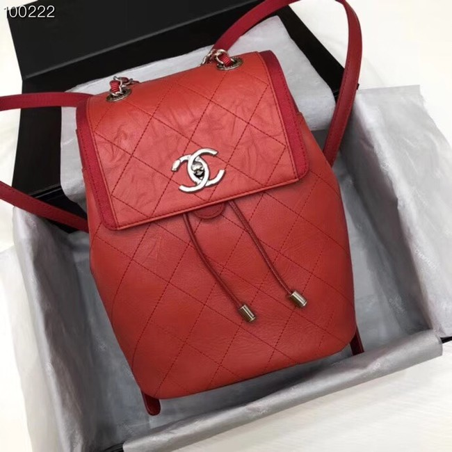 Chanel Backpack Calfskin A57497 red