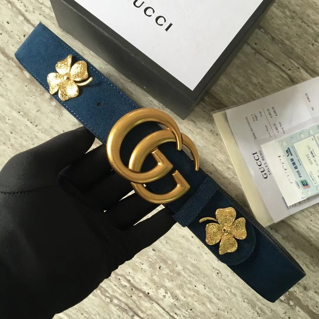 Gucci suede belt with Double G buckle 400593 blue