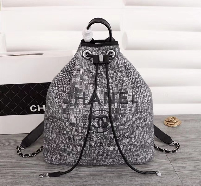 Chanel Canvas Backpack A57498 grey