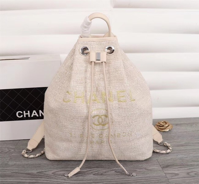 Chanel Canvas Backpack A57498 off-white